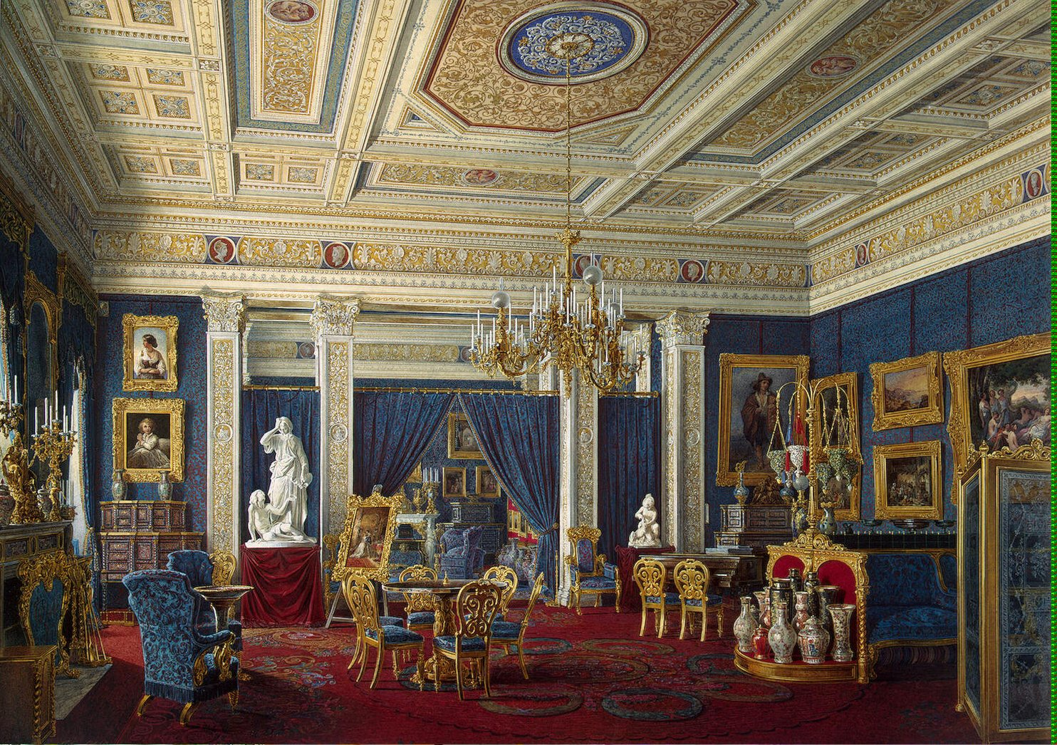 Blue Drawing-Room in the Mariinsky Palace by Eduard Hau (mid 19th century).