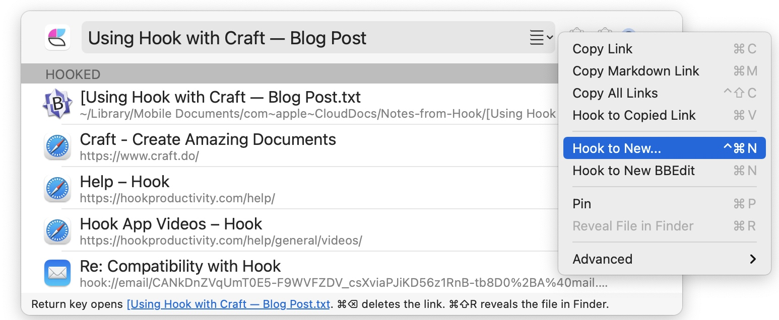 """<code>Hook to New</code> Screen Shot 2021-02-26 at 16.48.19.png"""" /></p> <p>As an example, you might want to link the Craft document to a task in <a href="""